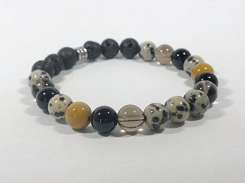 Dalmatian Jasper, Smoky Quartz, Onyx, & Mookaite