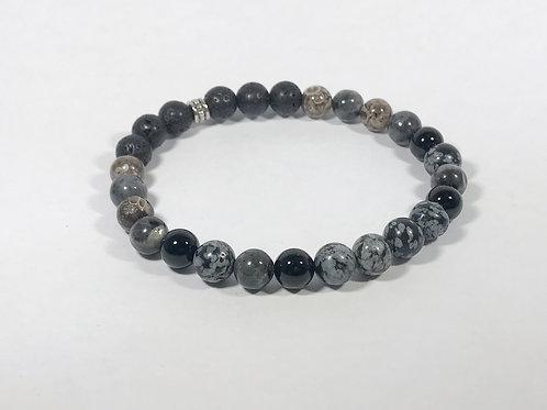 Snowflake Obsidian, Labradorite, Agate and Onyx
