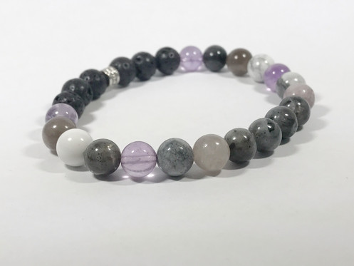 812c5d0f628 Amethyst, Lepidolite, Howlite & Labradorite personal diffusing and healing stone  bracelet.