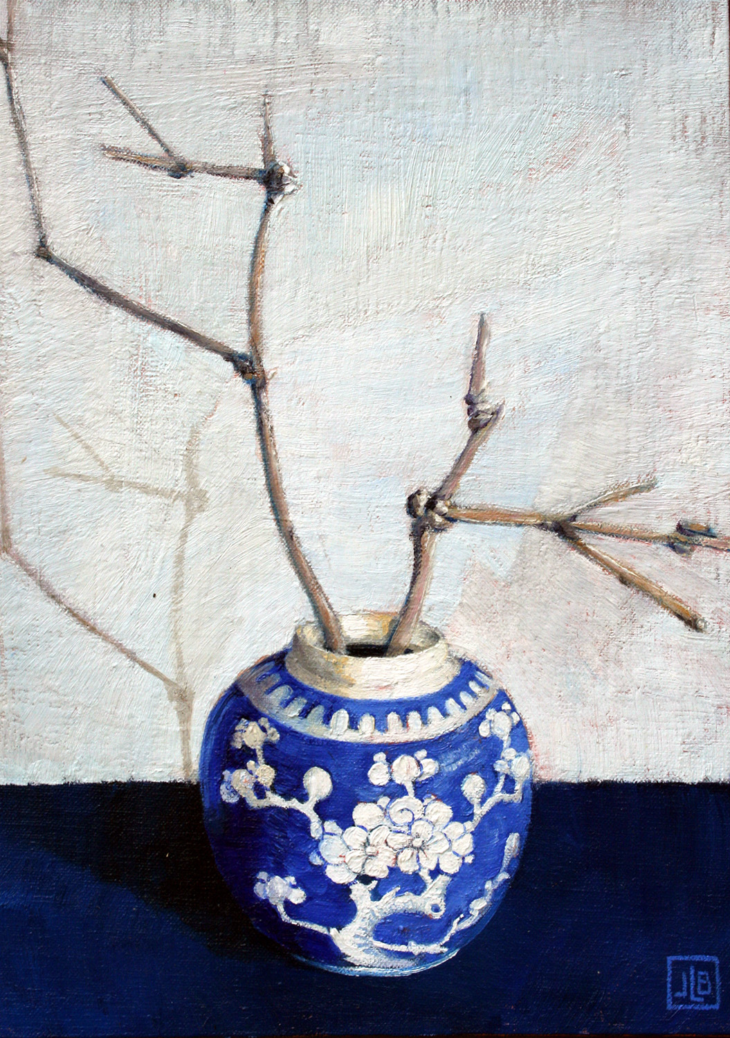Janette Bird still life in blue and white_sm