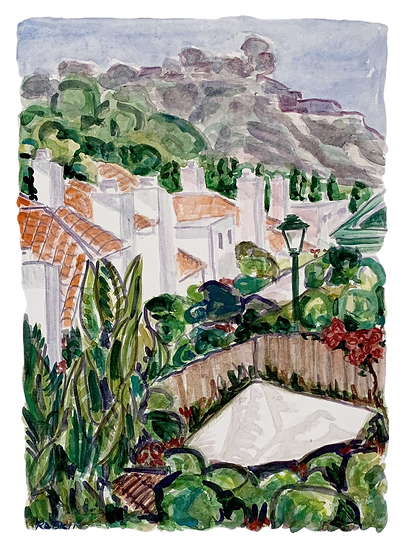 """Carmel Valley -View to the Cliffs""  Watercolor  12"" x 16"""