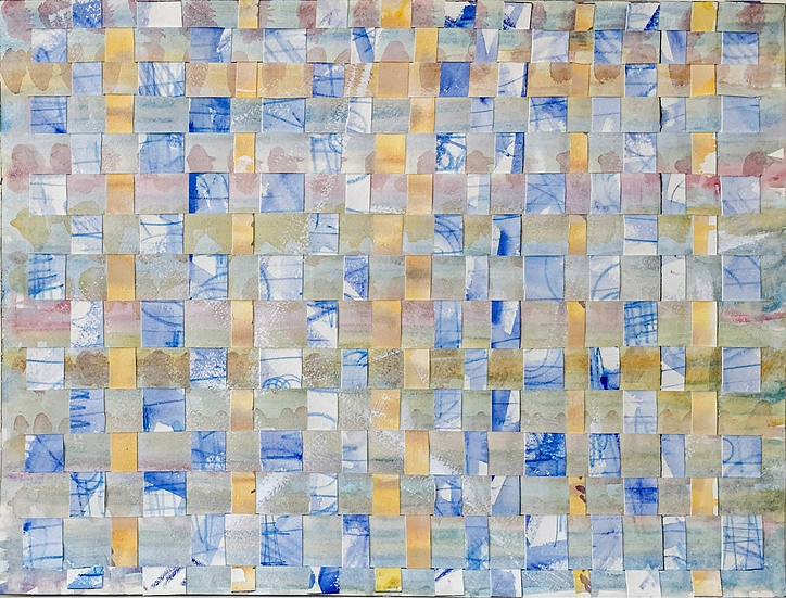 """Paper Weaving ( yellow, blue)"" watercolor, 16"" x 12"""