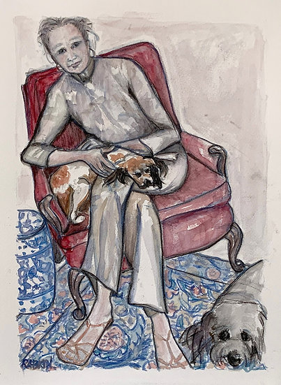 """""""Self Portrait with Milo and Maggie"""" Watercolor 12"""" x 16"""""""