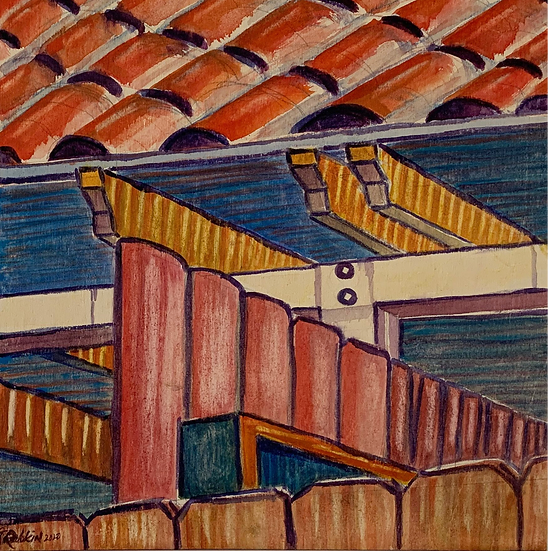 """Under the Eaves"" Acrylic and Watercolor on wood board 12"" x 12"""