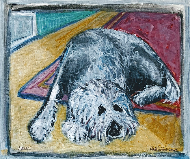 """""""Maggie, resting"""" Acrylic on paper. 12"""" x 16"""""""