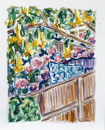 """Garden with Brugmansia and Hydrangea, Carmel Valley""  Watercolor  11x13"""