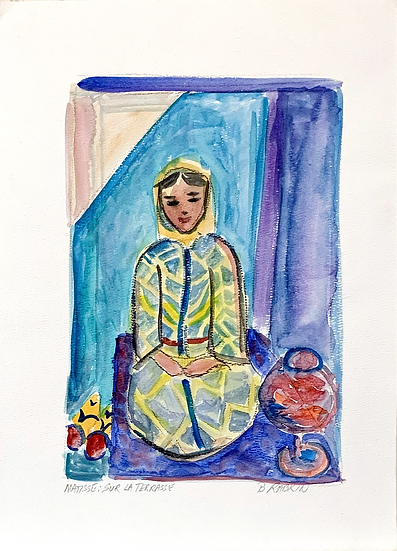 Woman with Goldfish (after Matisse),  Watercolor, 1995   11x15""