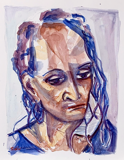 """""""Reckoning""""  Watercolor on paper.11"""" x 14"""""""