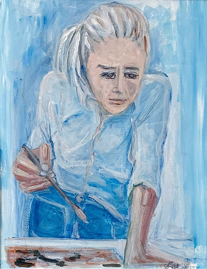 """Self portrait, Artist""  Acrylic on paper. 12"" x 16"""