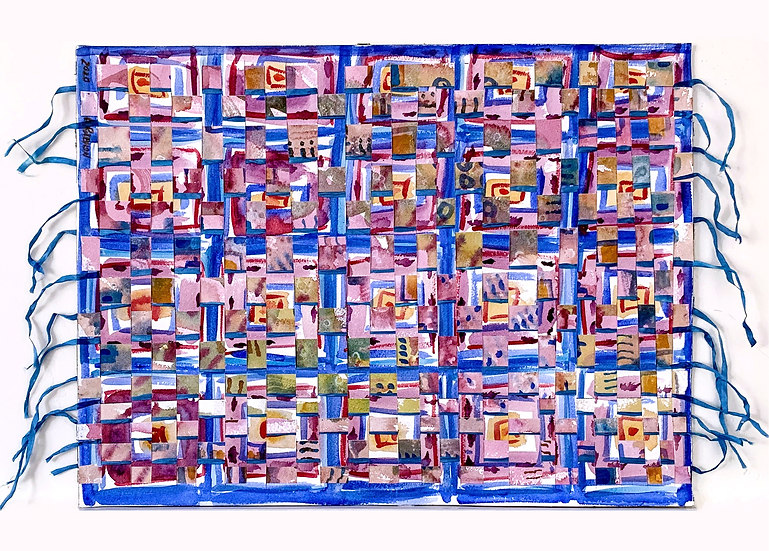 """Paper Weaving (blue, red)""  watercolor, hand dyed silk ribbon. 16"" x 12"""