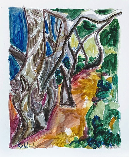 """Pepper Tree Grove"" Watercolor 11x13"""