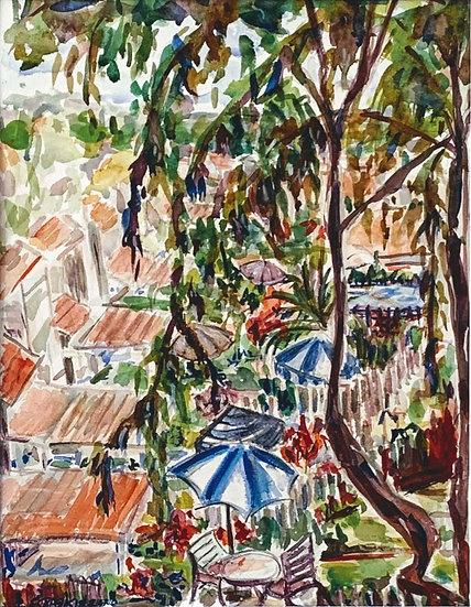 """""""Carmel Valley Patios""""  Watercolor 12"""" x 16"""""""