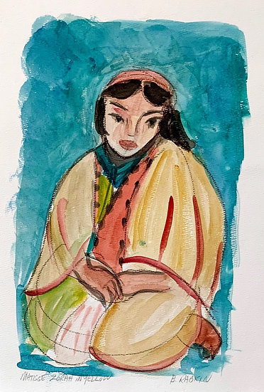 Woman in Yellow (after Matisse ), Watercolor , 1995  11x15""
