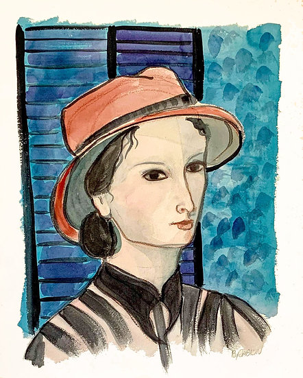 """""""Woman in Red Hat"""" 1995 watercolor 16"""" x 20"""""""