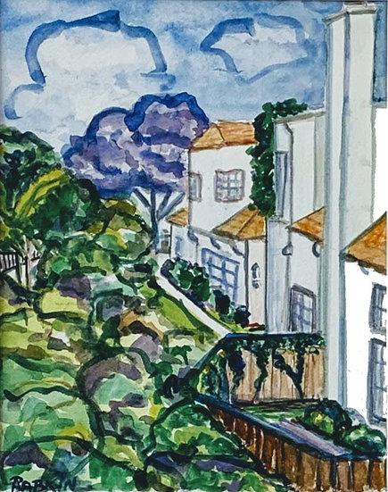"""""""Jacaranda Tree, Carmel Valley"""" Watercolor 8x10"""""""