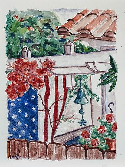 """""""A Carmel Valley Garden on Memorial Day"""" Watercolor 12"""" x 16"""""""