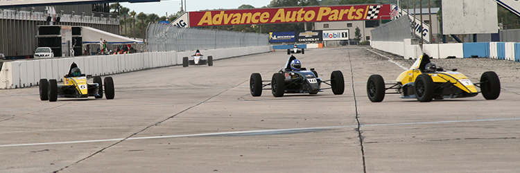 Leading the pack at one of the Lucas Oil Shootout sessions.  Photo courtesy of the Lucas Oil School or Racing