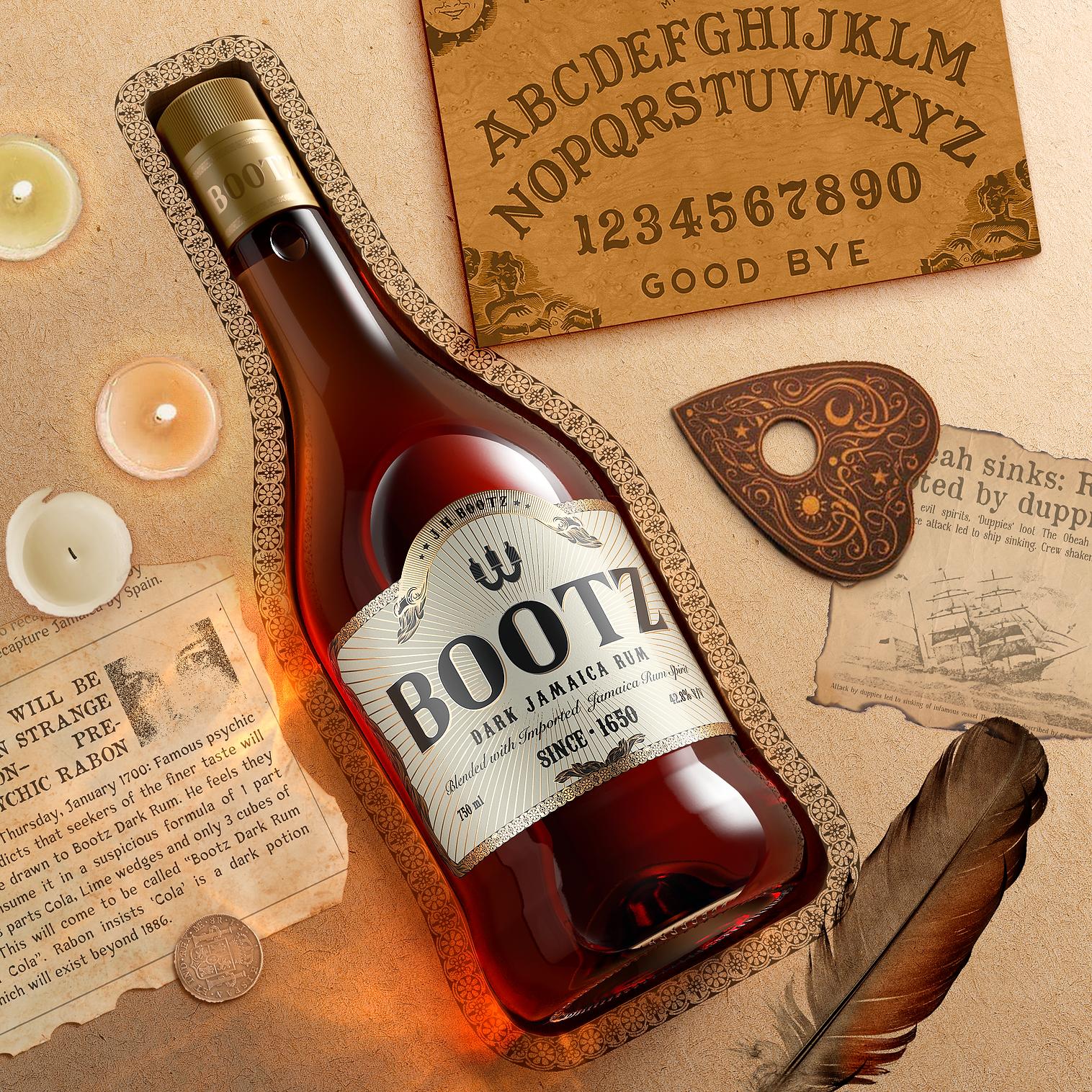 Bootz Dark Jamaica Rum Bottle