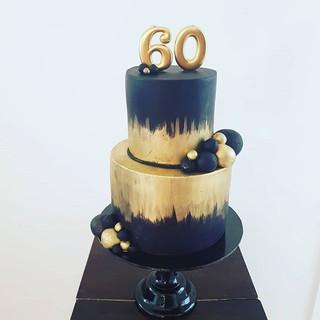 60th Birthday Cake Gold and Black