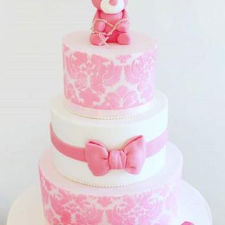 Soft Pinks Christening Cake