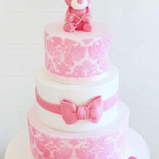 Soft Pinks Christening Cake