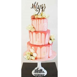 21st Birthday Buttercream  Drip Cake