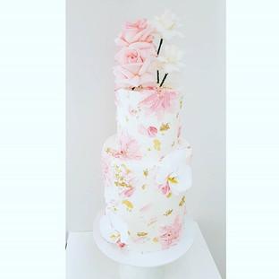 Pink Buttercream Flower Cake