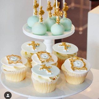 Cross and Initials Cupcakes
