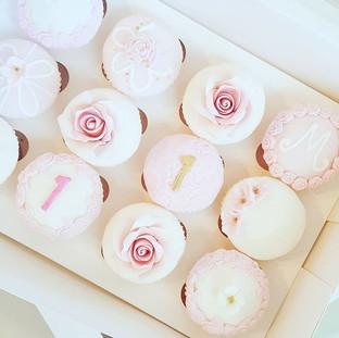 Pink Flower First Birthday Cupcakes
