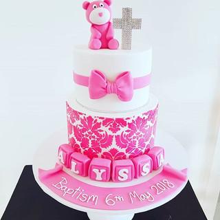 Pink Bear Christening Cake