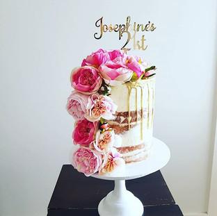 21st Birthday Flower Buttercream  Drip Cake