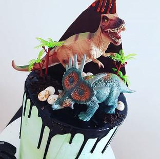 Dinosaur Buttercream  Drip Cake