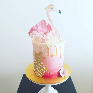 Flamingo Tropical Buttercream  Drip Cake