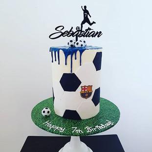 Soccer Buttercream  Drip Cake