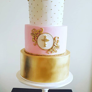 Pink and Gold Baptism Cake