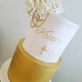 Flower Gold Christening Cake