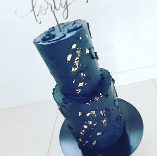 Black and Gold 40th Cake