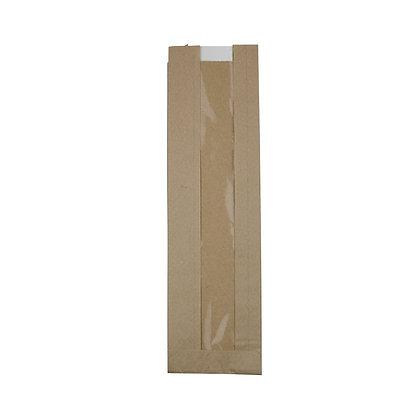 Flat-Bottom Bag, Strip Window, S, 100 + 50 x 350 mm, Bruin (1000 stuks)