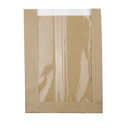 Flat-Bottom Bag, Strip Window, L, 200 + 50 x 267 mm, Bruin (500 stuks)
