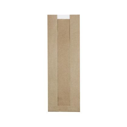 Flat-Bottom Bag, Strip Window, M, 140 + 70 x 400 mm, Bruin (500 stuks)