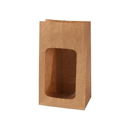 Broodzakjes met venster, PLA Venster, S, 95 x 55 x 180 mm (500 stuks)