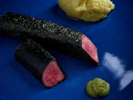 Agneau en feuille de nori, purée au wasabi par Eric Boschman