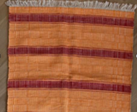 Tapis Orange/Rouge (cotton) - Tissage manuel de Castelo Branco