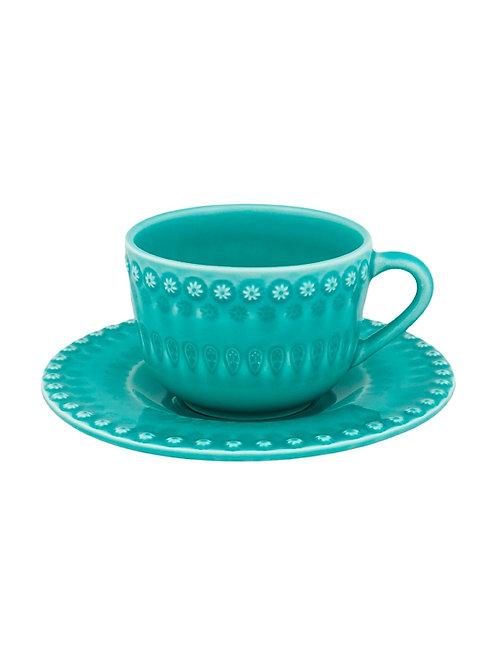 Tasse à café / thé et soucoupe acqua green