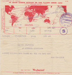 Telegram - Jack to Mother - 26 Jan 1943