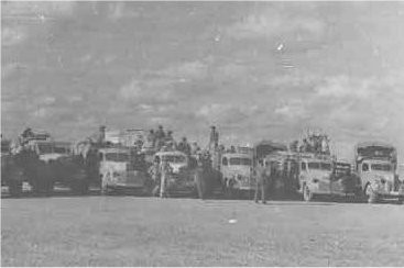 459 Trucks in line waiting to be refuelled, during the move to Benghazi.