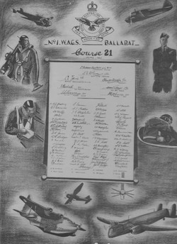 Ballarat Flight School Course 21 charcoal artwork and attendee signatures June 1942