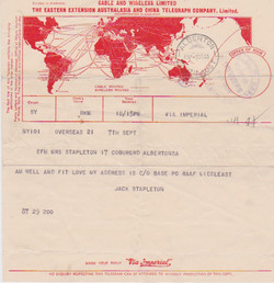 Telegram from Jack to mother, 7 Sept 1943