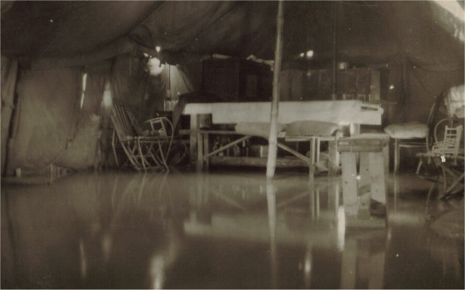Interior of old mess during flood Gambut March 1943