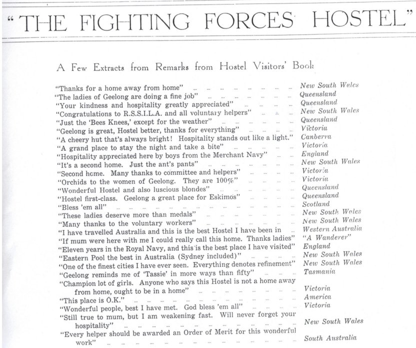 Fighting Forces Hostel visitors book